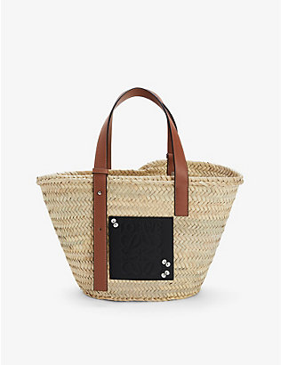 LOEWE: Loewe Totoro Dust Bunnies palm leaf and leather basket bag