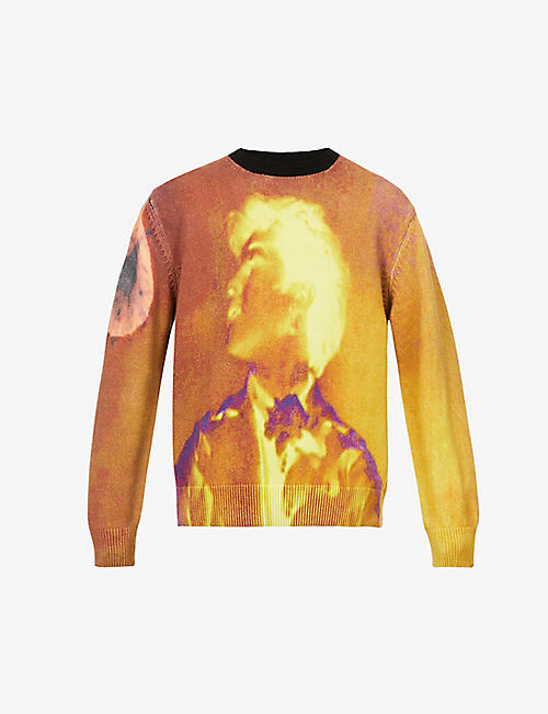 DRIES VAN NOTEN: Graphic-print cotton-knit jumper