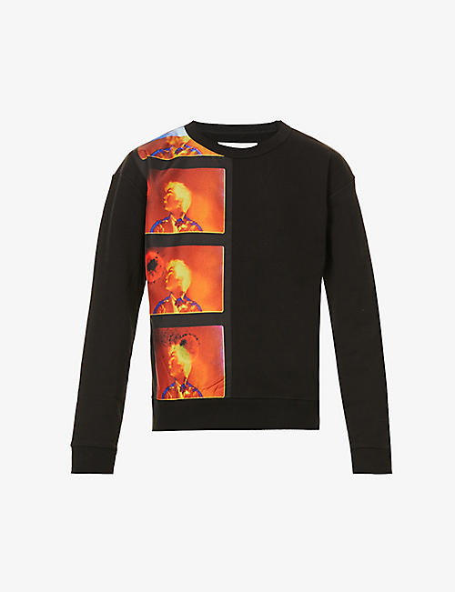 DRIES VAN NOTEN: Graphic-print relaxed-fit cotton-blend sweatshirt