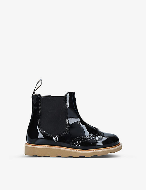 YOUNG SOLES: Francis brogue-detail patent-leather Chelsea boots 4-7 years