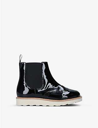 YOUNG SOLES: Francis brogue-detail patent-leather Chelsea boots 6-9 years