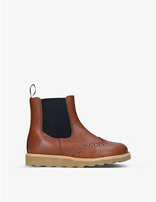 YOUNG SOLES: Francis brogue-detail leather Chelsea boots 6-9 years