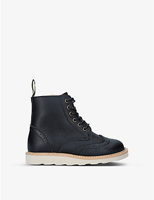 YOUNG SOLES: Sidney brogue-detail leather ankle boots 4-7 years