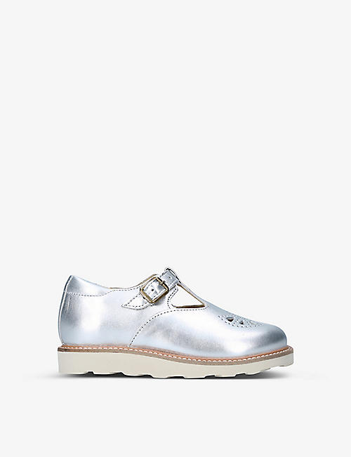 YOUNG SOLES: Rosie metallic-leather T-bar shoes 4-7 years
