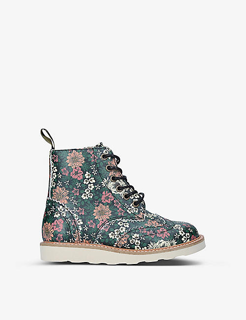 YOUNG SOLES: Sidney floral-print leather ankle boots 4-7 years