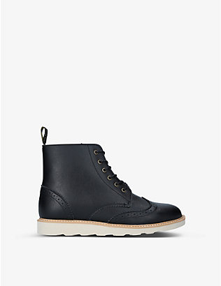 YOUNG SOLES: Sidney brogue-detail leather ankle boots 9-10 years