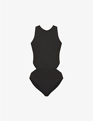 LIVE THE PROCESS: Onyx cut-out stretch-woven leotard