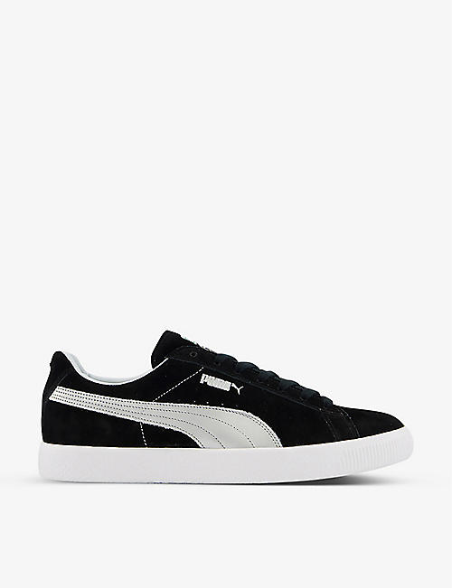 PUMA: Vintage Made In Japan metallic-embroidered suede low-top trainers