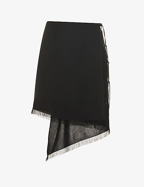 AERON: Cover high-waisted crepe mini wrap skirt