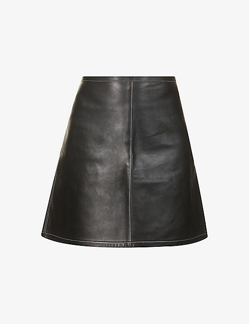 AERON: Petal high-waist leather mini skirt