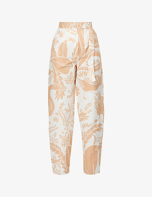 AERON: Haus tropical print wide-leg high-rise stretch-cotton trousers