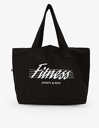 SPORTY & RICH: Fitness slogan-print cotton tote bag