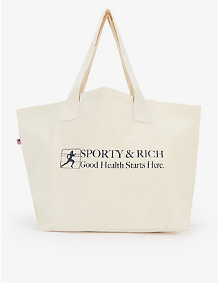 SPORTY & RICH: Good Health slogan-print cotton tote bag