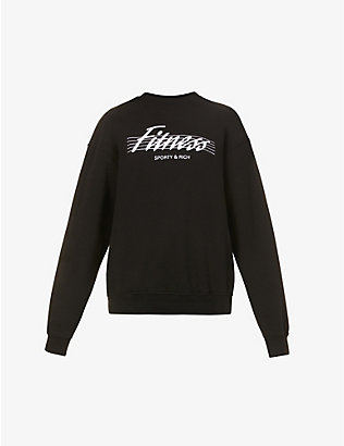 SPORTY & RICH: Fitness brand-print cotton-jersey sweatshirt