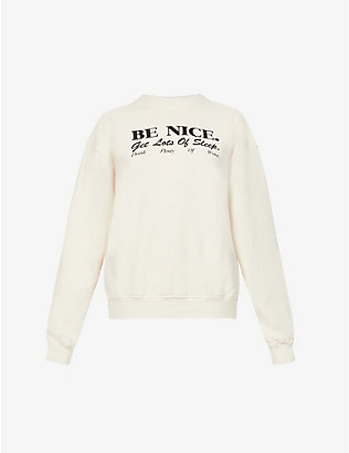 SPORTY & RICH: Be Nice brand-print cotton-jersey sweatshirt