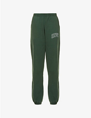 SPORTY & RICH: Varsity brand-print cotton-jersey jogging bottoms