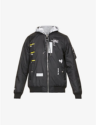 AAPE: Brand-badge text-print cotton-blend hooded bomber jacket