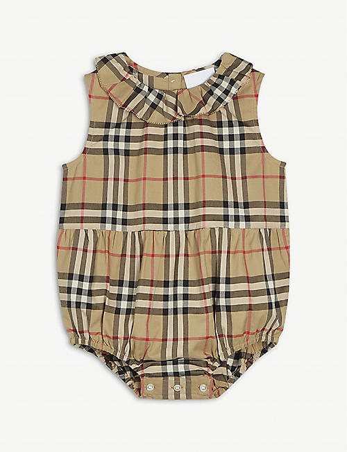 BURBERRY: Norah checked cotton bodysuit 3-18 months
