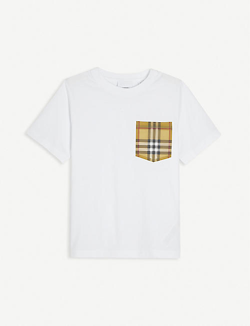 BURBERRY: Pocket-patch cotton T-shirt 4-14 years