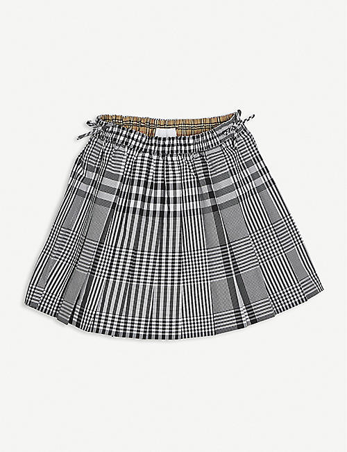 BURBERRY: Pearly checked cotton mini skirt 8-14 years