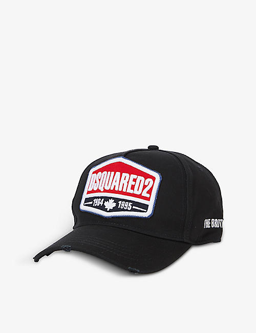 DSQUARED2 ACC: Logo-embroidered badge cotton baseball cap