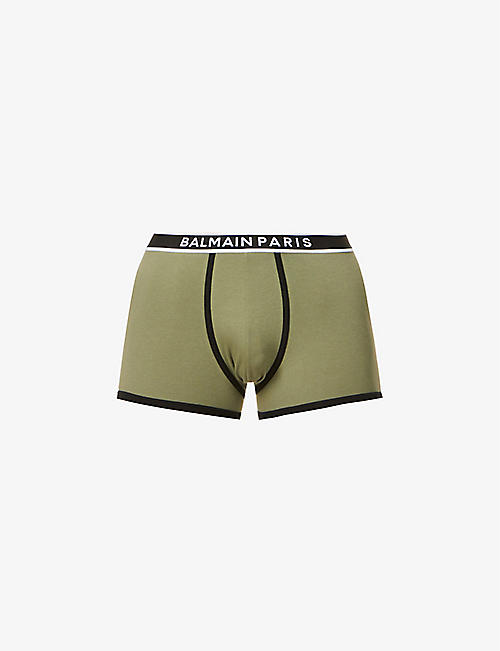 BALMAIN: Logo-embroidered stretch-cotton trunks