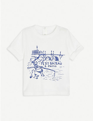PETIT BATEAU: Logo and graphic-print cotton T-shirt 6-36 months