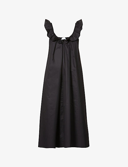 DEVOTION: Frilly-strap cotton-poplin midi dress