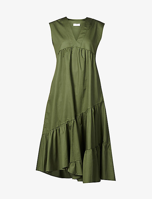 DEVOTION: Tiered V-neck cotton-poplin midi dress