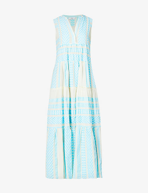 DEVOTION: Embroidered trapeze cotton-blend maxi dress