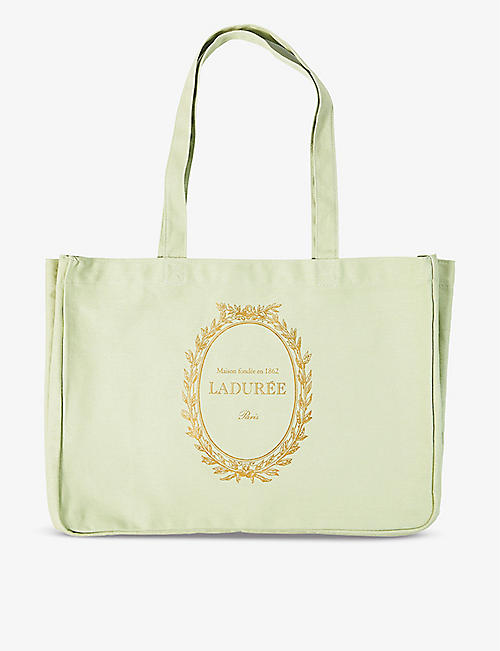 LADUREE: Logo-print cotton tote bag