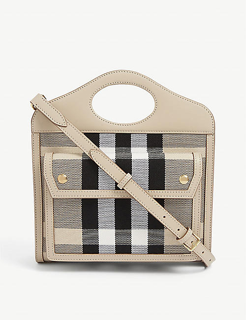 BURBERRY: Pocket mini checked canvas shoulder bag
