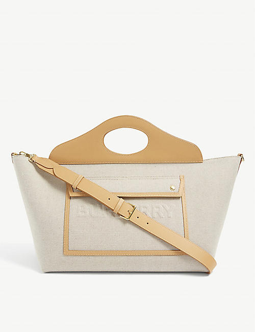 BURBERRY: Pocket medium canvas tote bag