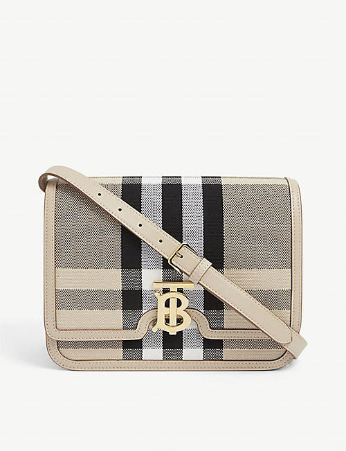 BURBERRY: TB checked canvas shoulder bag