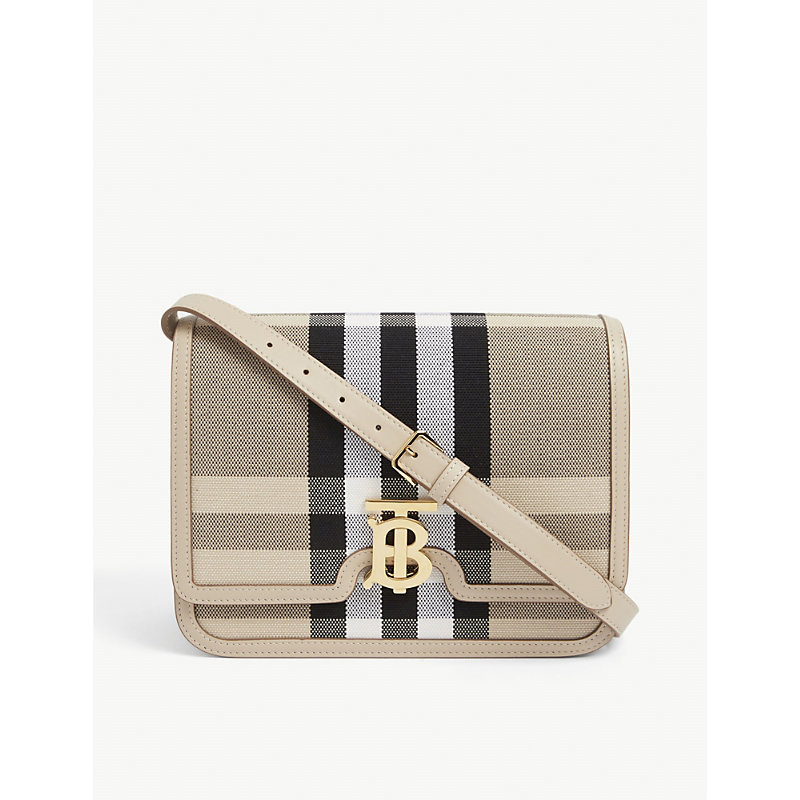 Burberry Canvases TB CHECKED CANVAS SHOULDER BAG