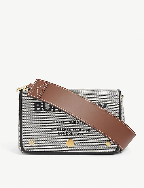 BURBERRY: Hackberry small Horseferry-print cotton cross-body bag