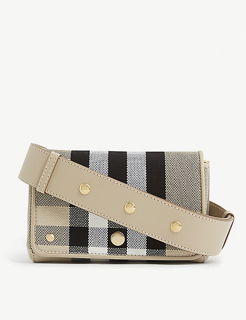 BURBERRY: Hackberry checked canvas cross-body bag