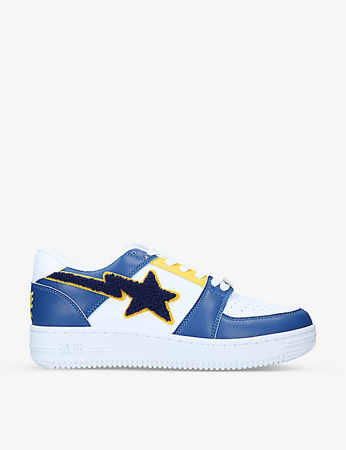 A BATHING APE: BAPE STA colour-blocked leather low-top trainers