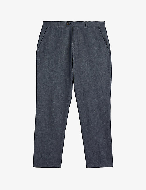 TED BAKER: Slim-fit cropped cotton and linen trousers