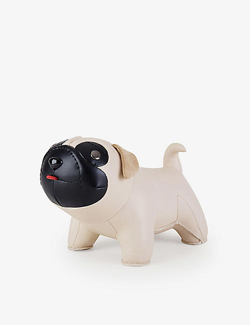 ZUNY: Pug faux-leather bookend 1kg