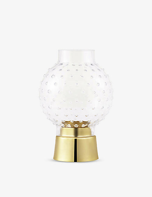 NORMANN: Story glass and brass-plated steel tealight holder 15cm