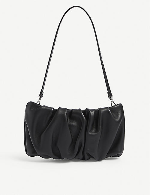 STAUD: Bean ruched-leather clutch bag