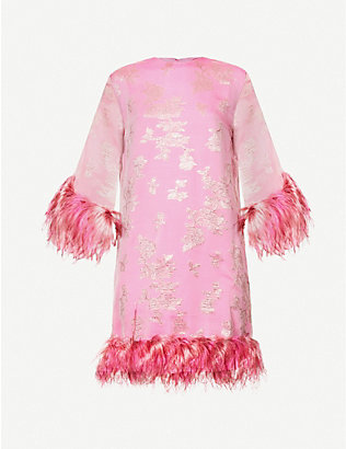 16 ARLINGTON: Feather-trimmed silk-blend mini dress