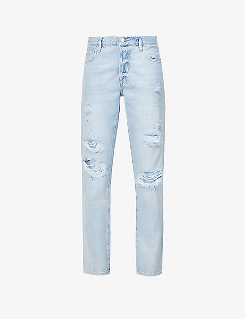 FRAME: Le Slouch ripped straight-leg mid-rise recycled cotton-blend jeans