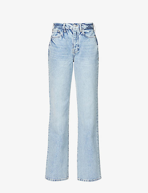 FRAME: Le Jane straight-leg high-rise recycled cotton-blend jeans