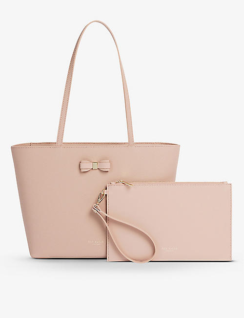 TED BAKER: Aveeda bow-detail leather shopper bag