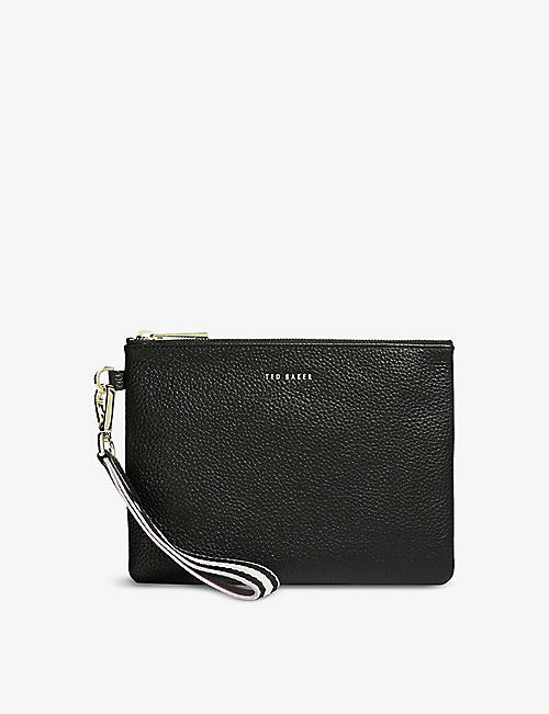 TED BAKER: Norrin web-striped leather pouch