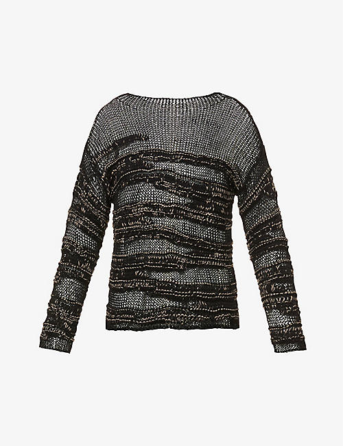 ISABEL BENENATO: Boat-neck semi-sheer cotton-blend jumper