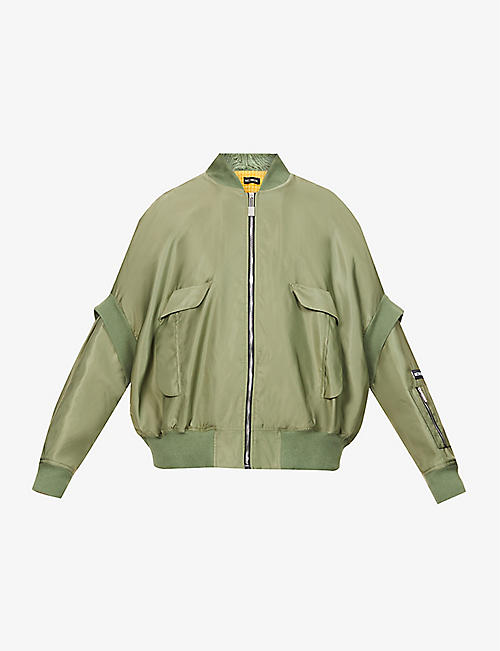 NICOMEDE: Oversized ruched-back woven bomber jacket