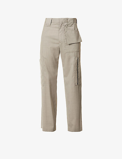 NICOMEDE: Patch-pocket relaxed-fit wool trousers